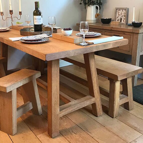 bespoke handmade table and benches