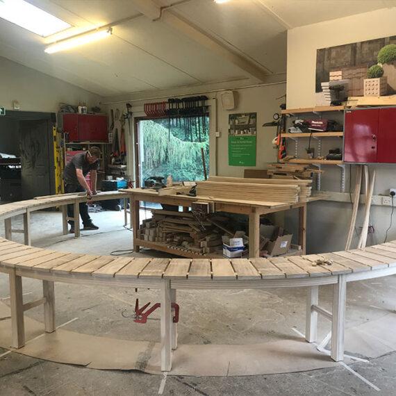 bespoke hardwood curved seating