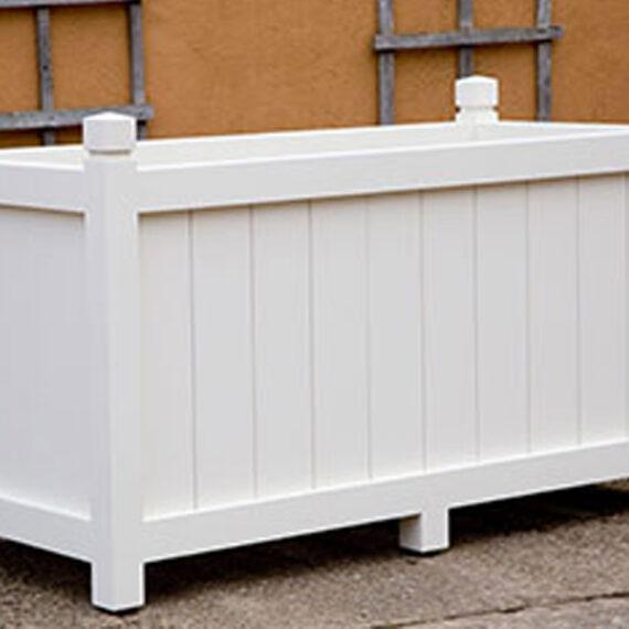 bespoke painted white trough planter