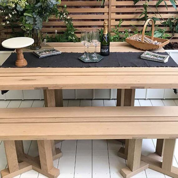 country garden table and bench