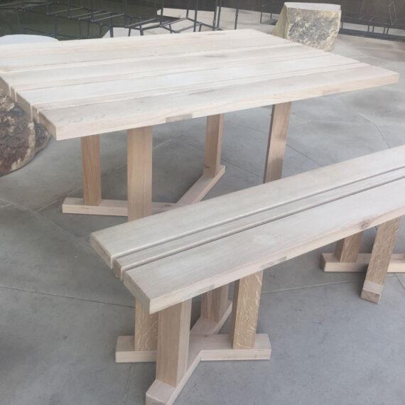 handmade country garden table and bench
