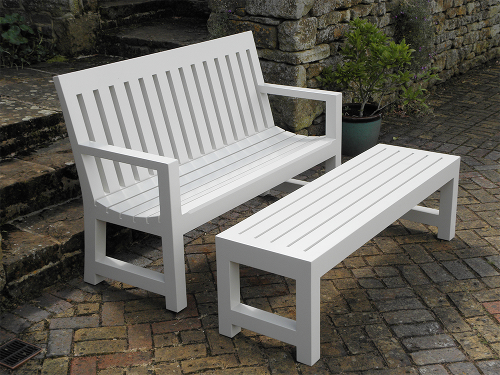 white bench and table