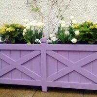 purple regent trough planter painted with flowers