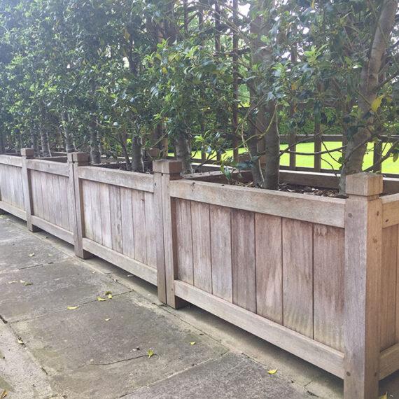 aged hardwood trough planters