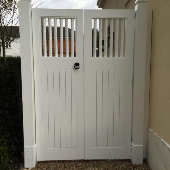 beautiful bespoke gates and posts in accoya
