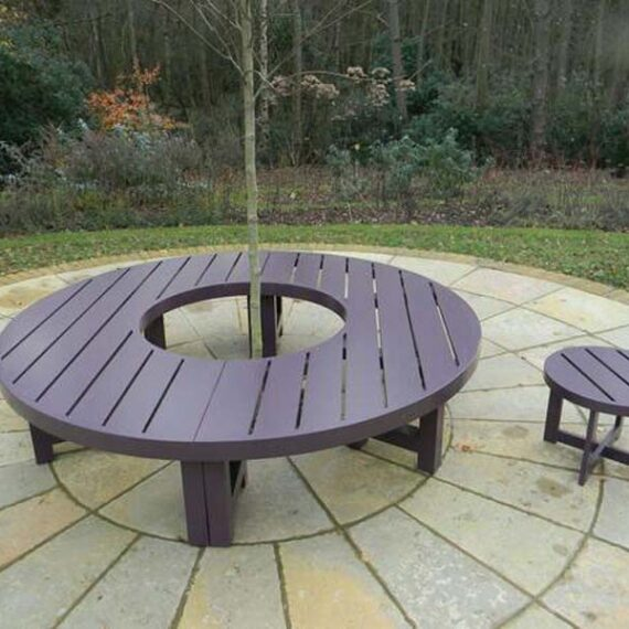 bespoke rounded bench with round table