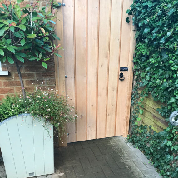 braced and ledged oak security gate