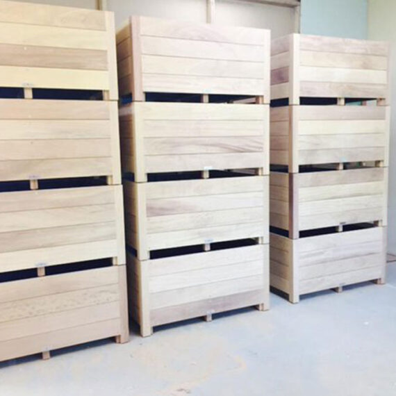 collection of hardwood trough planters ready to go