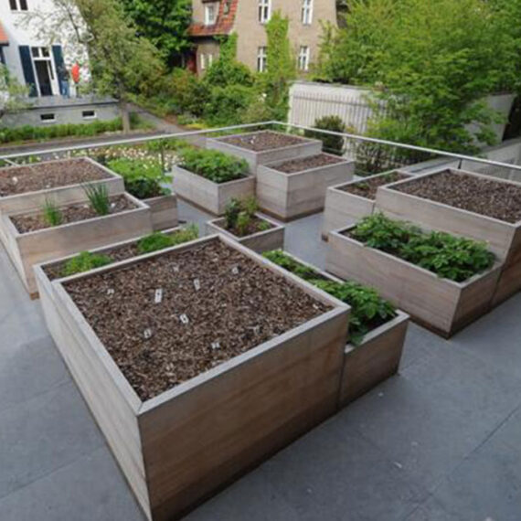collection of unpainted hardwood planters