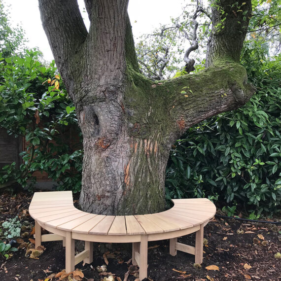 handmade bespoke curved bench around a tree