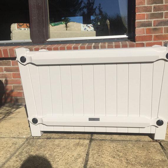 handmade hardwood white painted trough planter