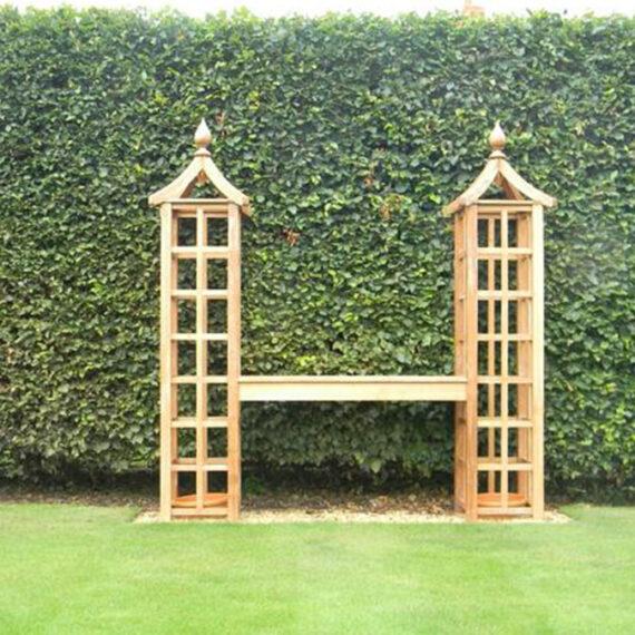 hardwood bench and trellis