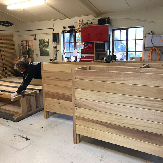 hardwood trough planters in production