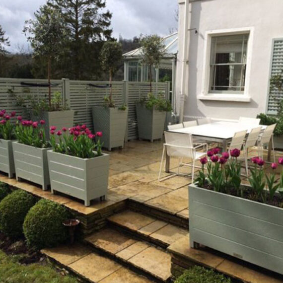 hardwood trough planters planted with tulips