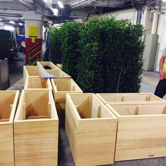 hardwood trough planters ready to display