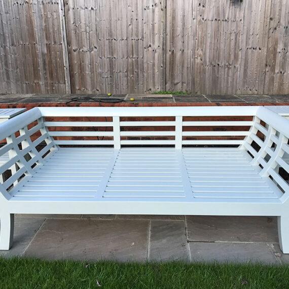 large white garden bench