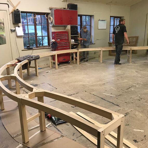 large winding bench in the workshop