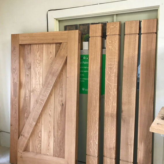 solid oak frame ledged and braced gates and posts